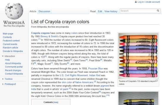 List of Crayola crayon colours